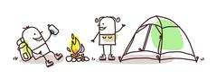 cartoon hikers with campfire and tent - stock illustration