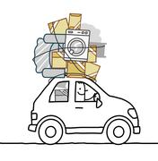 cartoon man moving in a car - stock illustration