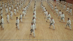 Moscow-CIRCA March 2016, school sambo-70, mass training of karate athletes,top Stock Footage