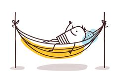 cartoon man having a rest in a hammock - stock illustration