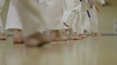 Mass training of karate athletes Stock Footage