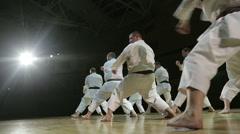 Moscow-CIRCA March 2016, school sambo-70, mass training of karate athletes Stock Footage