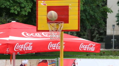 Throwing the ball. Street basketball. Editorial Stock Footage