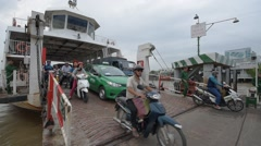 Commuters out of ferry stream Stock Footage
