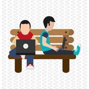 Illustration design of resting, editable vecctor - stock illustration