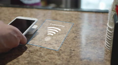 Smart Phone Payment at Coffee Shop with Square Terminal Stock Footage