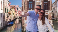 Happy Couple Embracing Love Fun City Dating Travel Famous Bridge Lifestyle Stock Footage