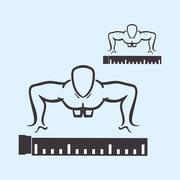 Healthy lifestyle design. Bodybuilding illustration. white backg Stock Illustration