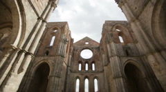 Ruined inner walls to Whitby Abbey in North Yorkshire in England. English Stock Footage