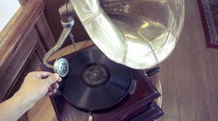 Old retro gramophone turning, top view Stock Footage