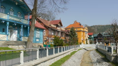 Krynica Zdroj the biggest spa town in Poland. Romanowka - Nikifor's Museum Stock Footage