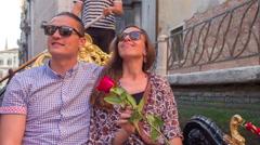 Couple Vacation Love Gondola Canal Venice Honeymoon Tourist Rose Love Lifestyle Stock Footage