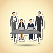 businesspeople graphic design , editable vector - stock illustration