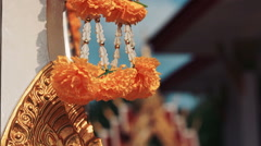 Flover Decoration In Buddha Temple, Closeup Stock Footage