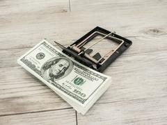 Money in a mousetrap - stock photo