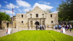 Historic Alamo in San Antonio, Texas with Tourists - Time Lapse Stock Footage