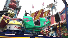 Break Dancer carnival ride at Dippemess in Frankfurt Germany 4k Stock Footage