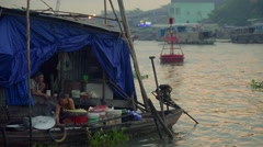 Early morning view of boat at the Cai Rang traditional floating market Stock Footage