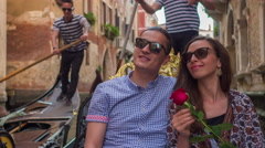 Loving Traveling Couple Sunglasses Happy Venice Gondola Casual Honeymoon Holding Stock Footage
