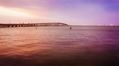 Bridge Leads to South Padre Island, Texas at Sunset - Time Lapse Stock Footage