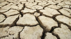 Ground cracked with heat, wide angle view Stock Footage