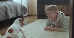 4k,The teenager is in her room playing with a pet Jack Russell Terrier dog Stock Footage