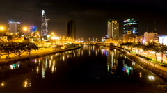 View of the river in Ho Chi Minh City at night Stock Footage