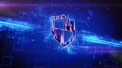 Shield icon on abstract blue background - stock footage