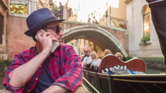 Man Smart Phone Holding Technology Wireless Tourist Venice Destination Vacation - stock footage