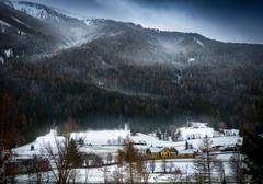 Snowstorm over Austrian Alps grown with forest Stock Photos
