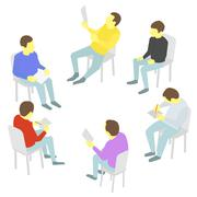 Talks. Group of business. Five people team meeting conference - stock illustration