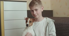 Teenager in his room a portrait with your pet Jack Russell Terrier dog Stock Footage