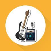 music illustration design, editable vector - stock illustration