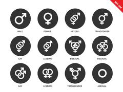 Sexual orientation icons on white background - stock illustration