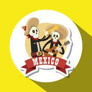Graphic design of mexican culture - stock illustration