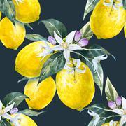 Watercolor lemon pattern Stock Illustration