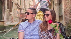 Couple Sightseeing Buildings Famous Honeymoon Gondola Canal Water Oaring Rose Stock Footage