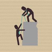 Illustration of help and support, editable vector - stock illustration