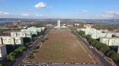 Aerial Congresso e Esplanada dos Ministérios Distrito Federal capital Brazil Stock Footage