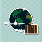Illustration of travel with airplane, editable vector - stock illustration