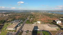 Aerial Brasília land overview Distrito Federal capital Brazil Stock Footage