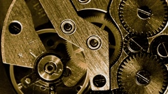 Gold vintage watch mechanism working macro (looped video) Stock Footage