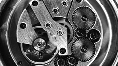 Vintage watch mechanism working macro black and white (looped video) Stock Footage