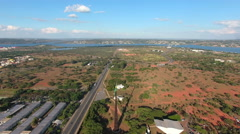 Aerial Brasília land and lake overview Distrito Federal capital Brazil Stock Footage