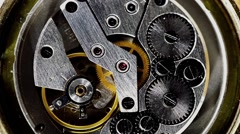 Vintage watch mechanism working macro steel filtered (looped video) Stock Footage