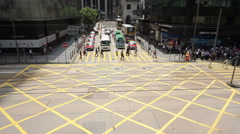 HONG KONG Traffic and people crossing at junction street around Central area Stock Footage