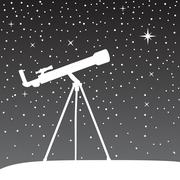 Silhouette of telescope on the night sky background Stock Illustration