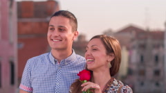 Happy Young Traveler Visiting Italy Love Honeymoon Togetherness Lifestyle Rose Stock Footage