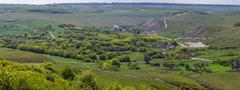 Panoramic view of a village in the Don River valley. Photo taken in the centr Stock Photos