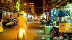 View of a busy night street in Ho Chi Minh City Stock Footage
